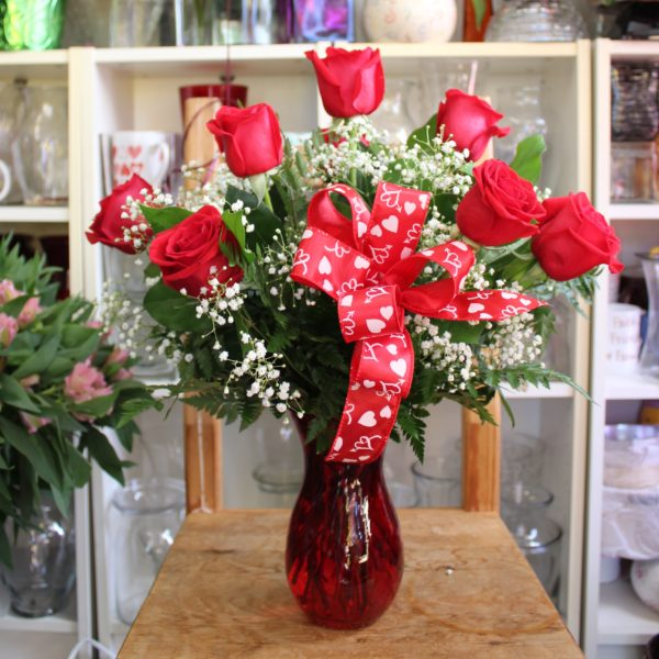 Red Roses Glass Vase Mariams Flowers